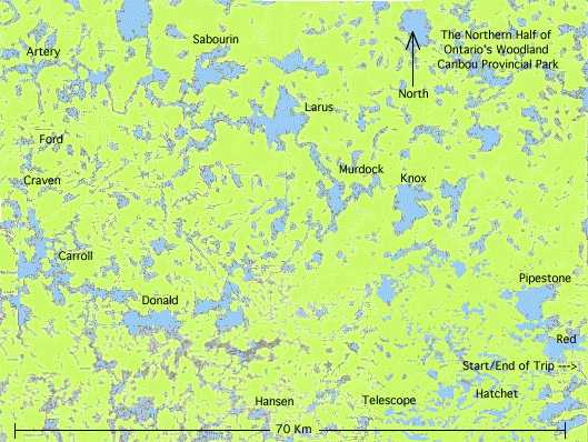 Map of a Canoe Trip into Woodland Caribou Provincial Park